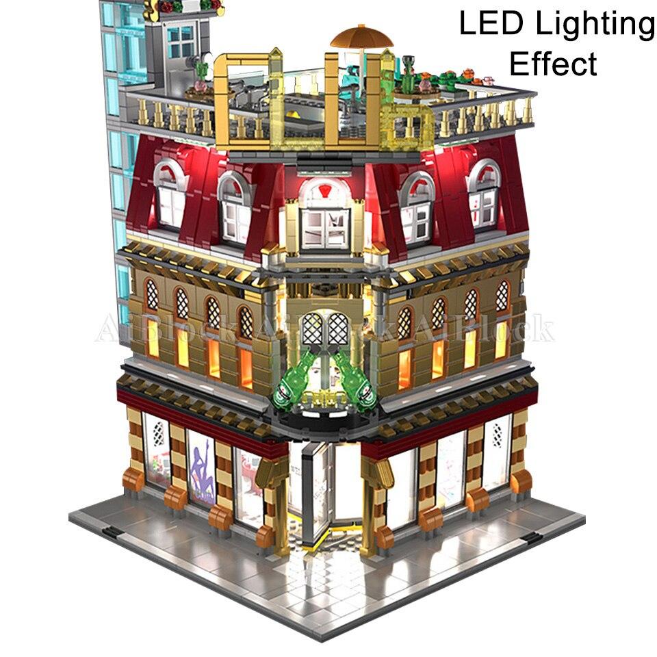 LED Night Club ใช้งานร่วมกับ Legoing Creator Expert Street ดูชุดบล็อกอาคารเด็กวันเกิดของขวัญของเล่นเด็ก-ใน บล็อก จาก ของเล่นและงานอดิเรก บน   1