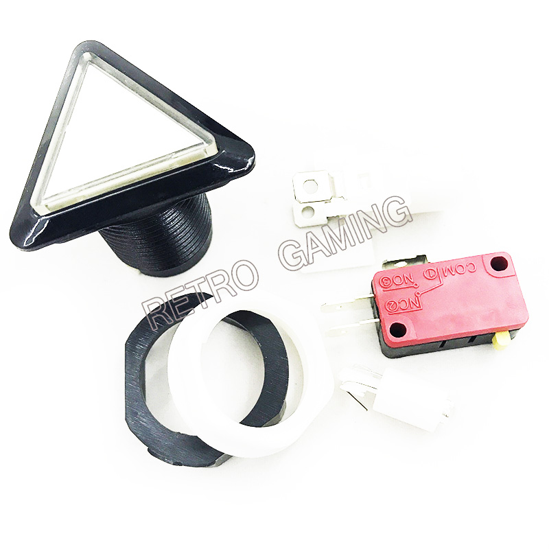 5 Colors Arcade Button 12v Triangle LED Arcade Push Button With Microswitch Black Circle Illuminated