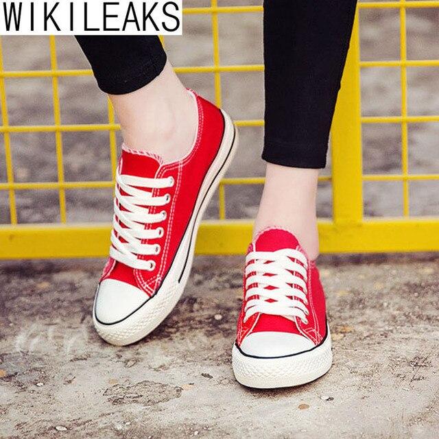 Wikileaks 2016 Новая Мода Женщины Повседневная Колледж Стиль Классический Холст Обувь Женщина Шнуровке Белый Дешевые Студент Обувь Zapatos Mujer