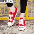 Wikileaks 2016 Nuevas Mujeres de La Moda Estilo Casual Colegio de Lona Clásicos Zapatos de Mujer Con Cordones Blancos Zapatos Baratos para Estudiantes Mujer