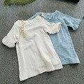 Primavera verano de LAS MUCHACHAS vestidos de dama elegante mangas abullonadas vestido de lino de algodón respirable cómodo de los niños faldas