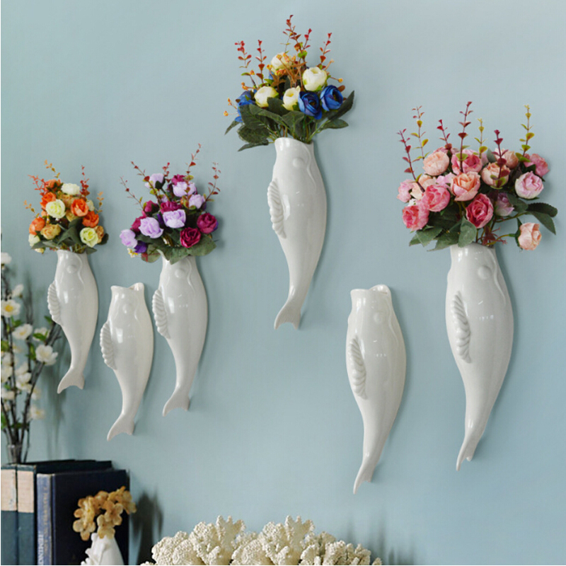 Home Crafts Simple Modern Creative Fish Wall Background Mural Vase
