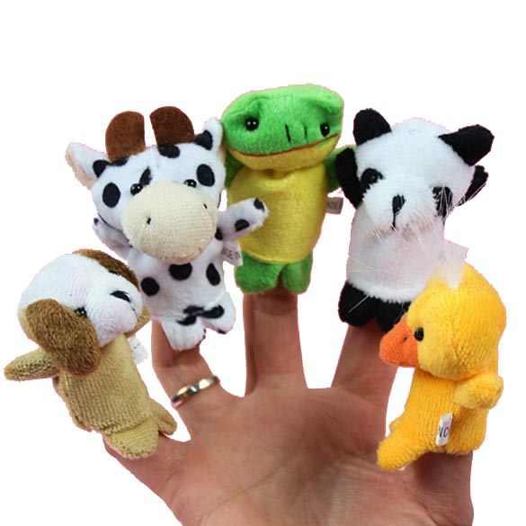 10x dessin animé biologique Animal doigt marionnette en peluche jouets enfant bébé faveur poupées
