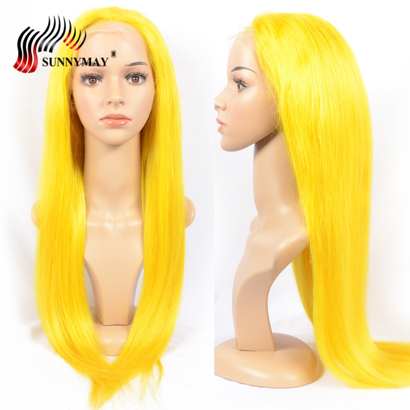 Sunnymay Yellow Full lace Human Hair Wigs European Remy Hair Glueless Pre Plucked Full Lace Wigs With Baby Hair 130% Density