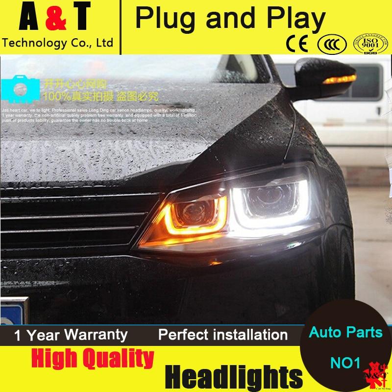 Стайлинга автомобилей Джетта МК6 фары Ассамблеи 2011-2014 для Фольксваген Джетта светодиодные фары глаза ангела Джетта ГЛИ светодиодные H7 с HID комплект 2шт.