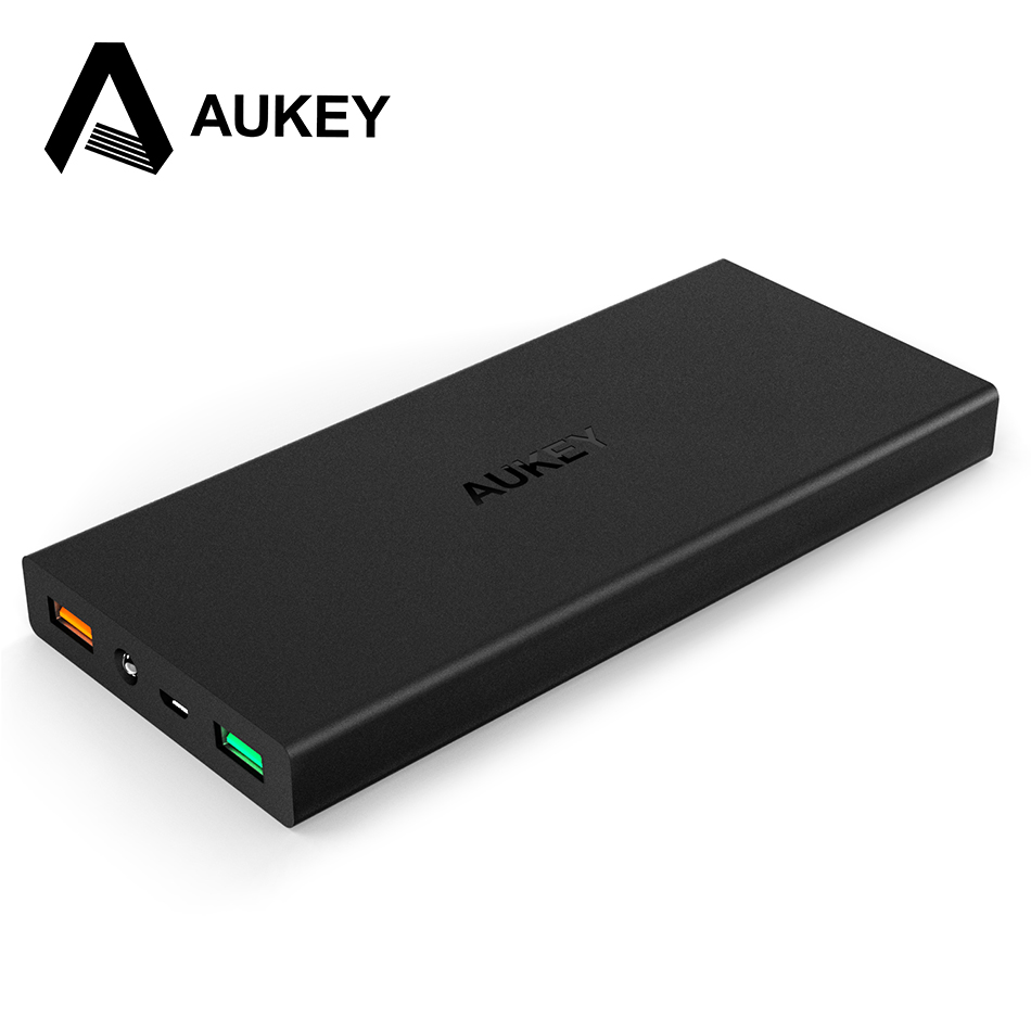 AUKEY Quick Charge 2.0 16000mAh Portable External Battery 5V 9V 12V USB Dual Mobile Power Bank For iPhone X Samsung Xiaomi LG