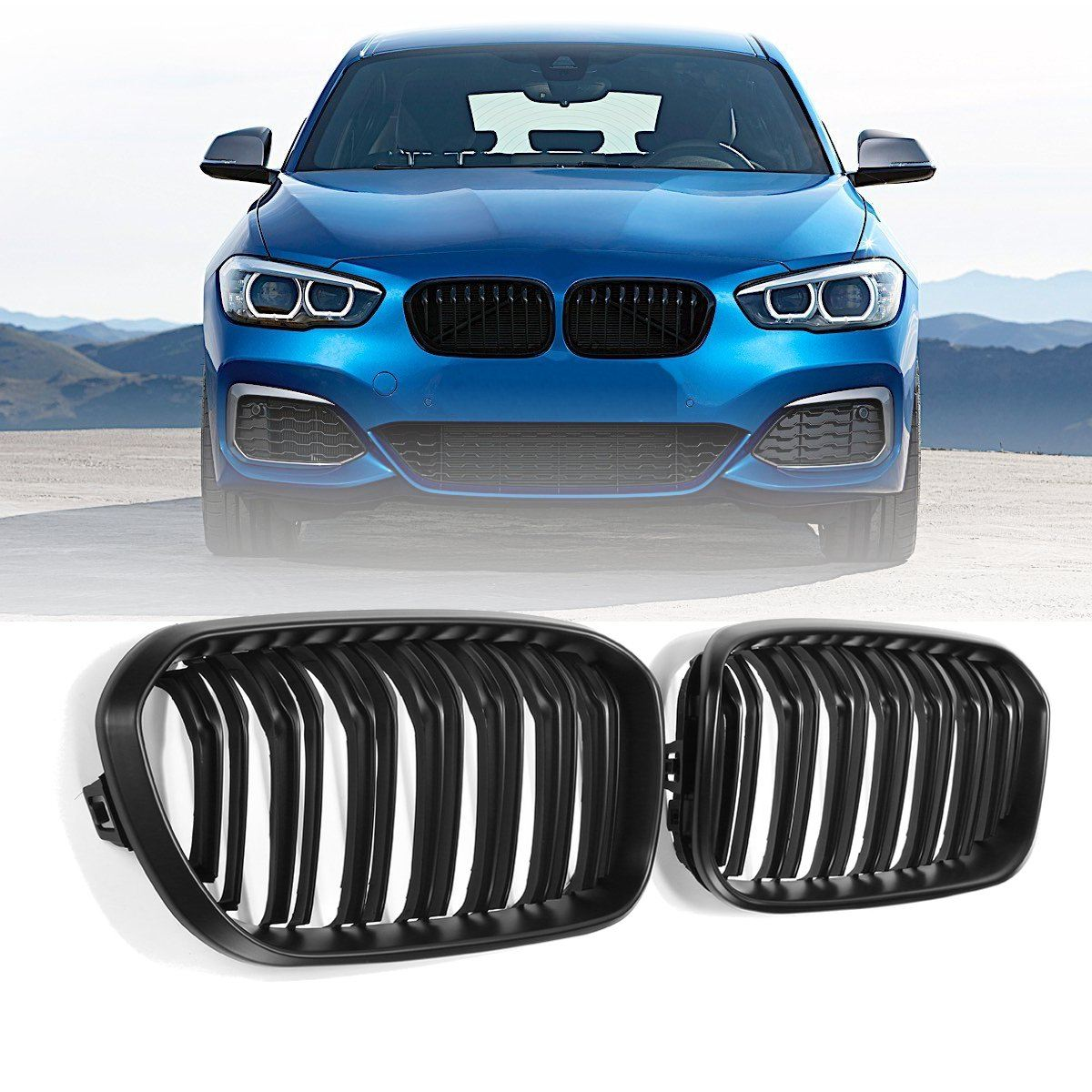 For BMW F20 F21 1 Series 2015 2016 2017 Pair Gloss Matt Black Double Slat Line M Color Front Racing Grill Kidney Grill Grille f20 abs grill front bumper hood grille for bmw f21 2010 2014 page 8