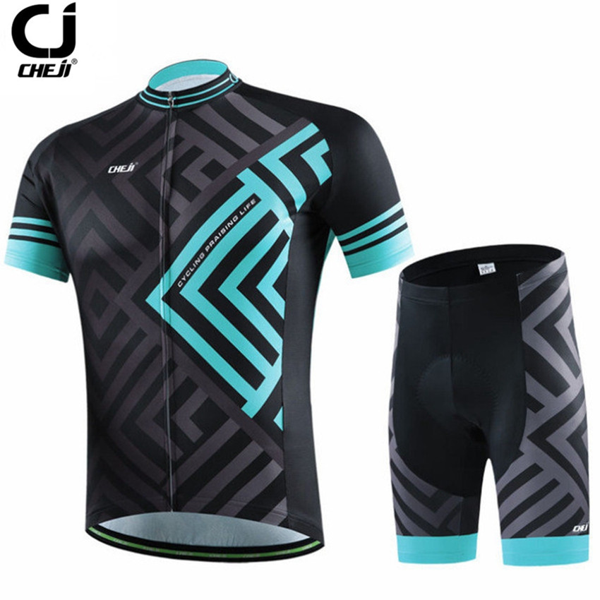 CHEJI Bike Cycling Clothing Sets Roupa Ciclismo Quick-Dry Racing Bicycle Cycling Jersey Sets Short Sleeve Sportswear CC1455 frankenstein