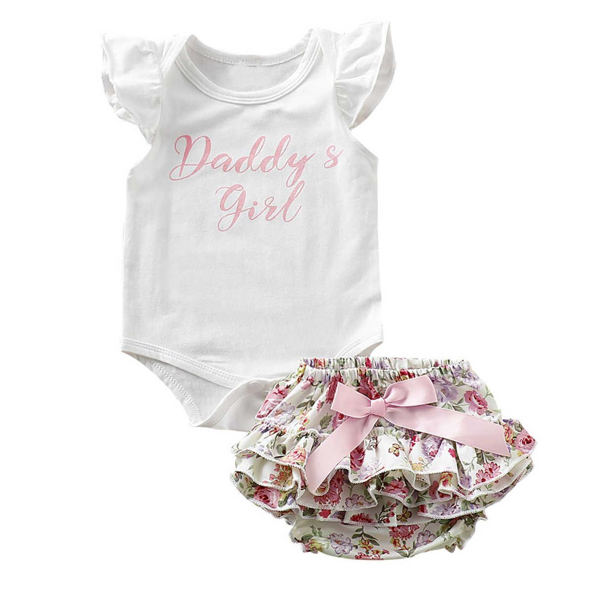 2 adet/takım Sevimli Yenidoğan Bebek Kız Giysileri 2019 Değer Bekleme Bebek Bodysuit Romper + Ruffles Tutu Etek Şort Kıyafetler
