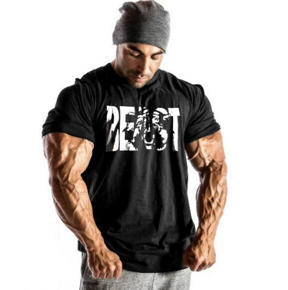 Muscle guys Brand Men's Superman BEAST Gyms   T     Shirts  ,Bodybuilding Fitness Workout Clothes Cotton   T  -  Shirt
