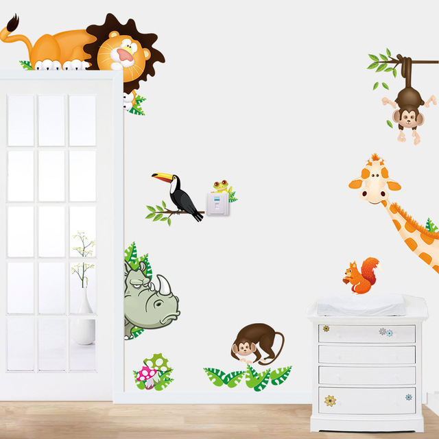 1pcs Cartoon Wall Sticker Animals Giraffe Lion Monkey Stickers Kids Room Removable Wallpaper Home