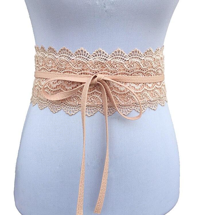 Belts   for Women Wedding Dress Female Waist Band Badinka Black White Wide   belt   leather Corset Lace Self Tie Obi Cinch Waistband