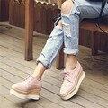2017 Плюс Размер 34-43 Горячая Продажа Женская Круглого Toe Лакированной Кожи Туфли на платформе зашнуровать Акцентом Обувь Повседневная Кружева Мода Узел Обуви