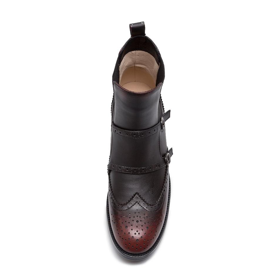 Oxford Red Chelsea Otoño Mujeres Zapatos wine silver Black Tobillo Para Invierno Las Natural Suru De Botas Cuero ExpBwqZx1g