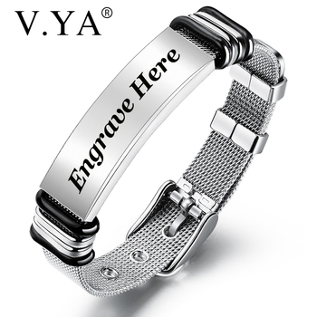 V.YA Fashion Customized Black Men Bracelet Stainless Steel  Personalized Engrave Bangle For Jewelry Gift