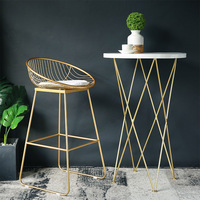 Fashion Nordic Bar Stool Bar Chair Creative Coffee Chair Gold High Stool Simple Dining Chair Wrought Iron with Soft Cushion