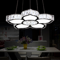 Fashion D470mm 5 Heads Ceiling Light Crystal Flower Shape Ceiling Lighting Foyer Cafeteria Pendant Lamp