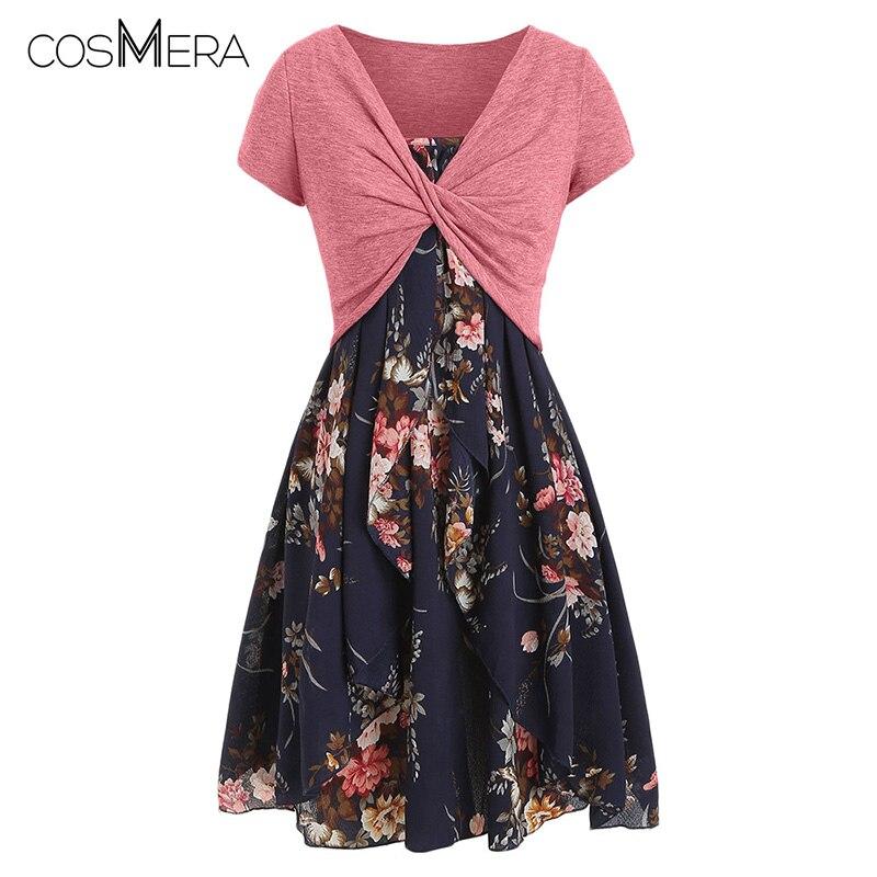 COSMERA grande taille imprimé Floral couche Cami robe avec croix Criss haut court décontracté Spaghetti sangle T-Shirt deux pièces robe ensemble