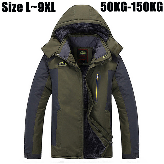 7XL 8XL 9XL Winter Jacket Men Brand-Clothing Thick Warm Parka Coat Windproof Waterproof Jacket Velvet Windbreaker Men CF01402