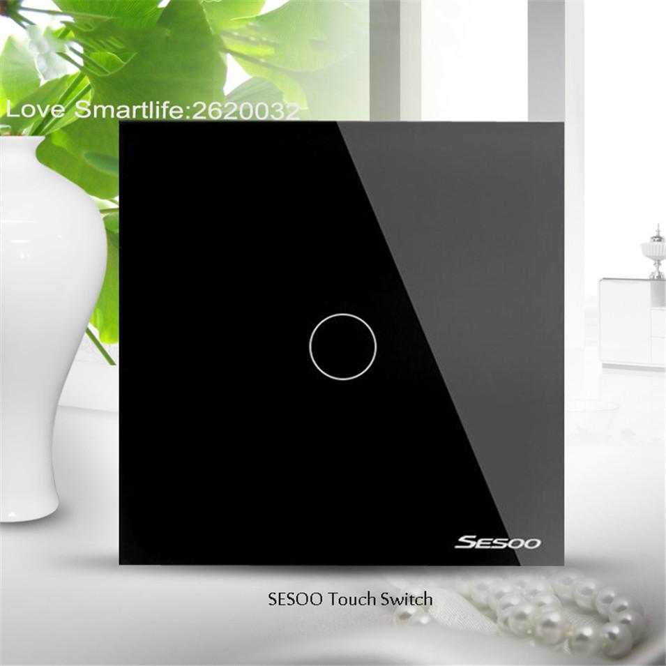 EUUK Standard SESOO Touch Switch 1 Gang2 Gang3 Gang 1 Way,Single Fireline Wall Light Switch,Black Crystal Tempered Glass-1