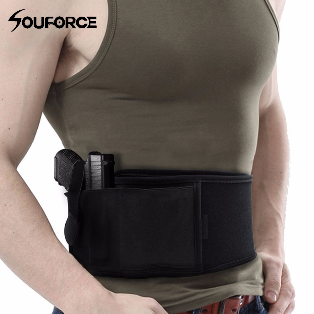 Left/Right Hand Tactical Universal Abdominal Band Holster for Glock 17 19 22 Series and Most Pistol Handguns 2 in 1 Combo