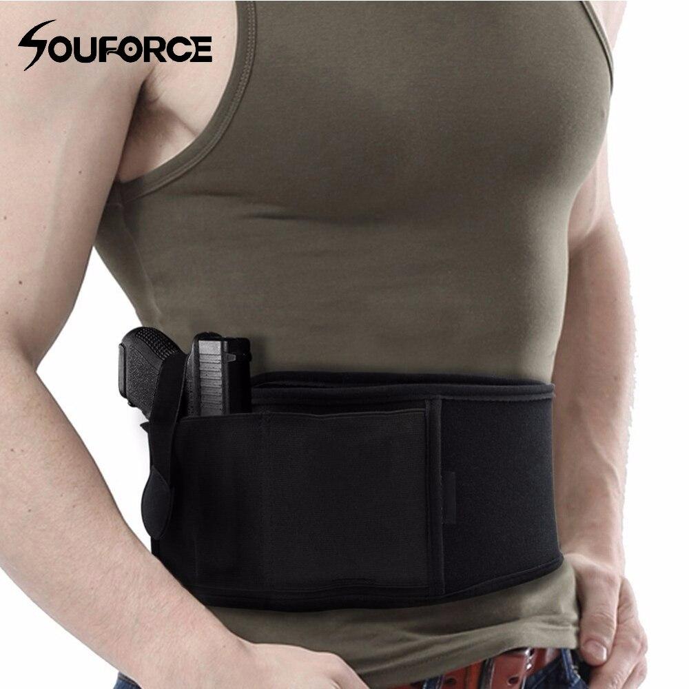 Mano derecha/izquierda Tactical universal abdominal banda para Glock 17 19 22 series y más pistola pistolas 2 en 1 combo