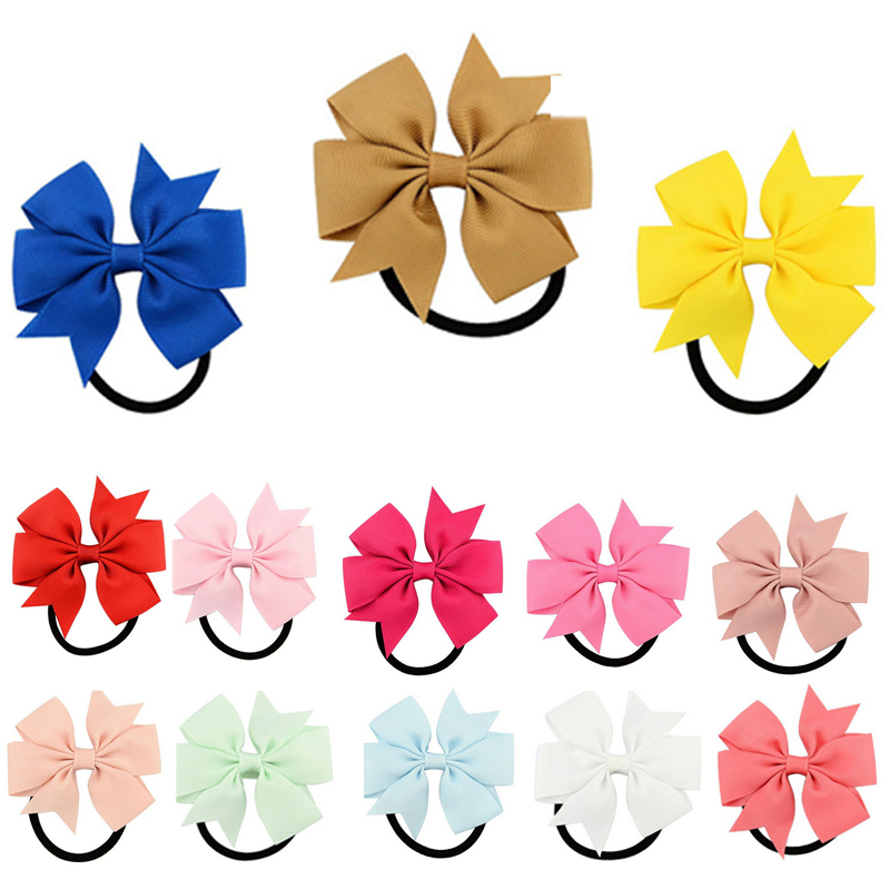 20 Colors Colorful Fashion Cute Ribbon Bow Elastic Hair BandS Rope Hair Accessories  Christmas Gift 2017 New Arrival  HCGY0001 2016 sale new arrival headband korean flower cartoon girls elastic hair bands accessories rope ties princess gift 6 pcs