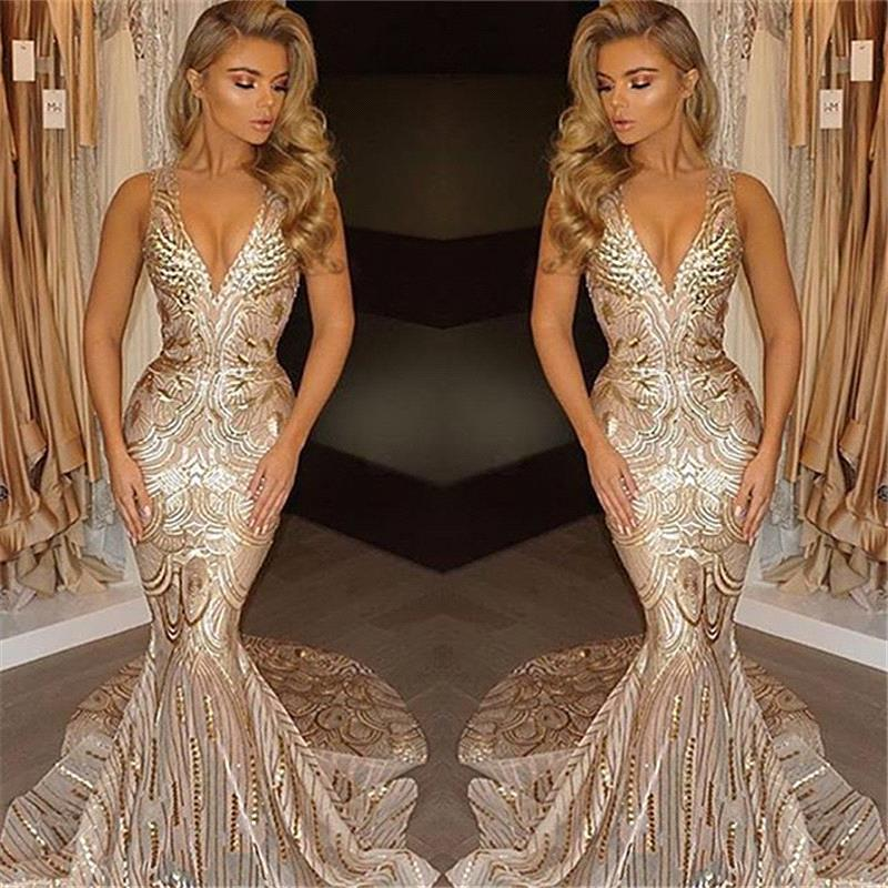 Real Photo Champagne Gold Sequin Mermaid   Prom     Dresses   2019 Sexy V Neck Long Party   Dresses   Evening Gowns robe de soiree longue