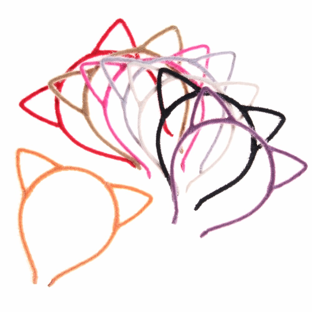 100pcs lot Cartoon Cat Ears Kids Headbands Flannel Hairbands Party Birthday Baby Girls Hair Accessories For Sexy Women Hoop in DIY Craft Supplies from Home Garden