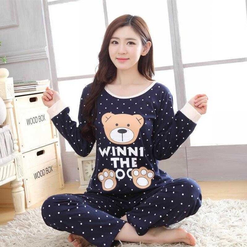 Delle donne Pajamas Set Manica Lunga Cartoon Poliestere Donne Sleepwear Pajamas Set Coperta Casuale Abbigliamento Homewear Pigiami