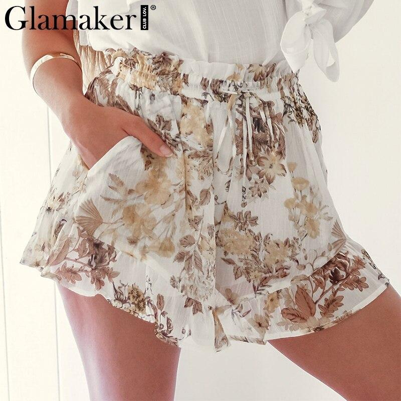 Glamaker Sexy chiffon print high waist   short   Women loose casual summer white   shorts   Female ruffles party club beach mini   shorts