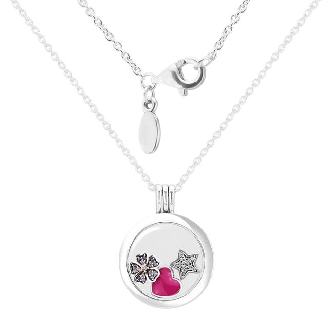 Dia dos namorados Flor E Estrela Petites Mulher Colar de Vidro Medalhão Flutuante de Cristal Médio 925-Silver-Jewelry Atacado