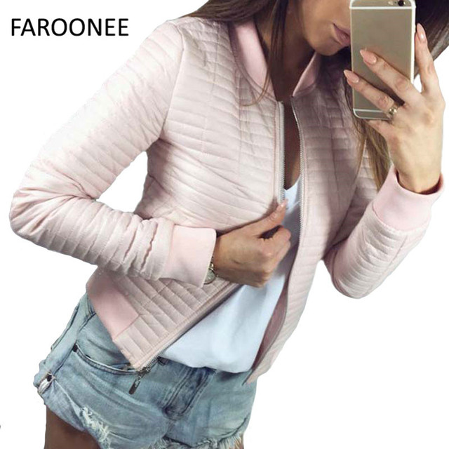 3a8ab6173fe6 2019 Women Spring Autumn Coat Short Section Outwear Cotton Padded Warm  Jacket Outwear Casual Pink Black Thin Female Clothes