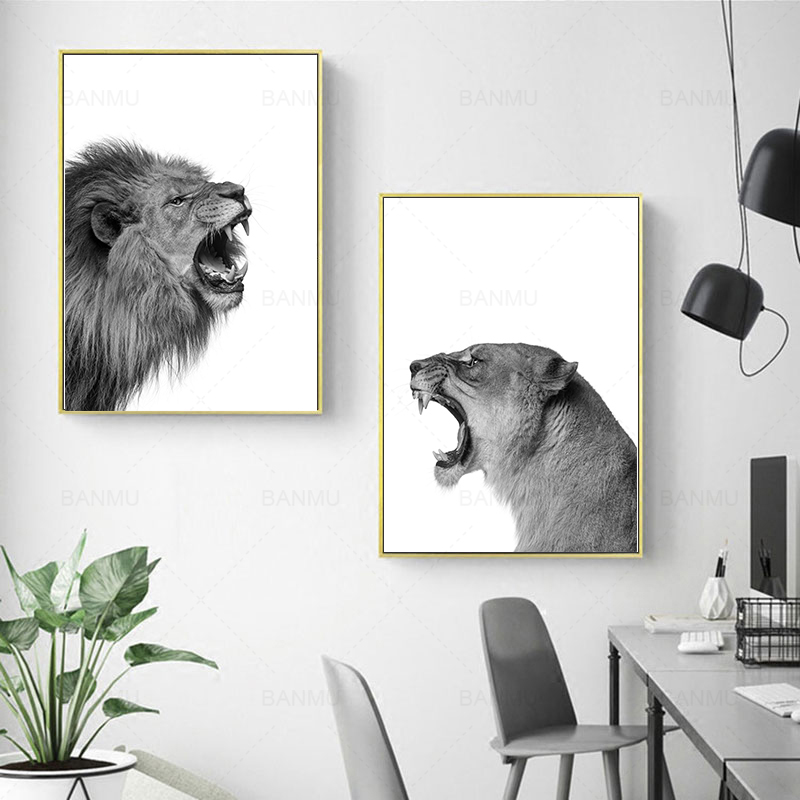 2 Pieces Lion And Lioness Animal Canvas Picture Lion Painting Animal Wall Art Print Poster Black White Woodlands Home Decor