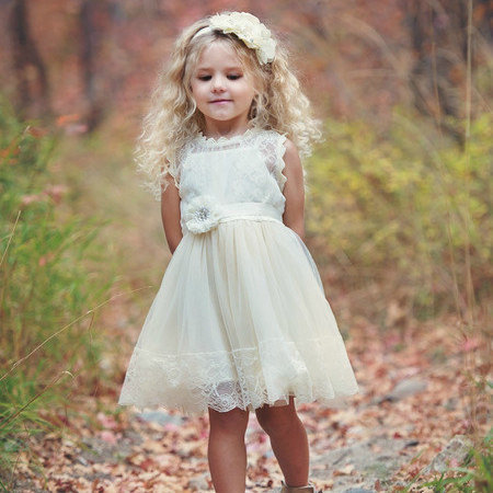 A-Line  Flower Girls Dresses For Wedding Gowns Tulle Girl Birthday Party Dress Lace  Dresses Holy Communion
