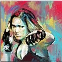 TOP HANDPAINT art travail # peinture à l'huile # RONDA ROUSEY UFC-livraison gratuite coût