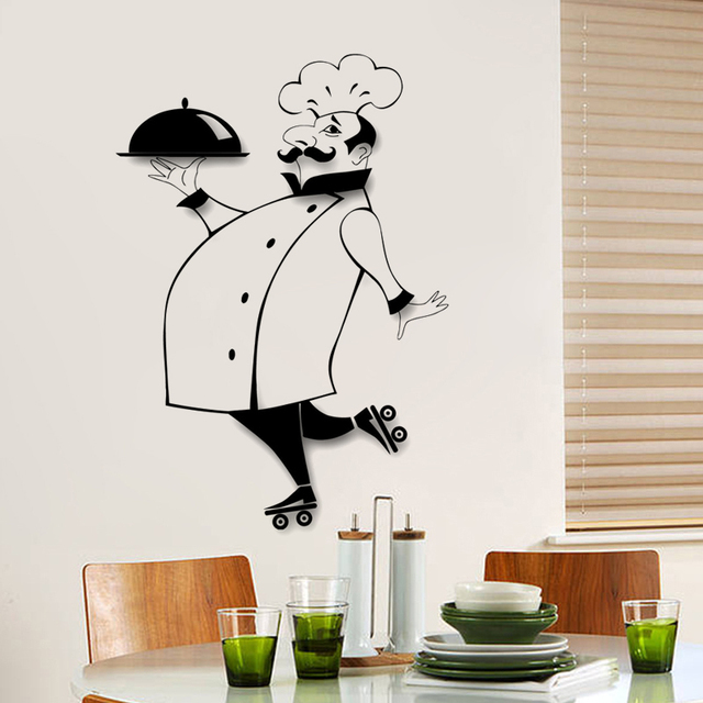 French Chef Kitchen Wall Sticker Restaurant Art Mural Home Decor Waterproof Wallpaper Jg1101