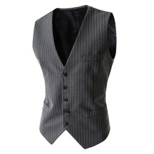 Zogaa Classic V Neck Sleeveless Waistcoat Men Spring New Vertical Striped Suit Vest Mens Slim Fit Wedding Business Brand Vests