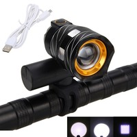 15000LM XM L T6 LED USB Line Rear Light Adjustable Bicycle Light 3000mAh Rechargeable Battery Front