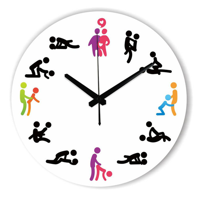 12 Position Patterns Funny Circular Bedroom Wall Clocks Cultural ...