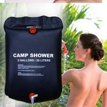 Bolsa de agua caliente Solar portátil de 20L, bolsa de ducha calentada con energía para baño al aire libre, Camping, bolsa de Picnic, bolsa de agua para barbacoa, senderismo, almacenamiento de agua