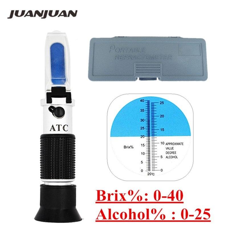 Caja de venta al por menor gravedad específica 0-40% Brix Alcohol refractómetro Tester para mosto de cerveza, vino, azúcar de uva ATC de Sacc 47%