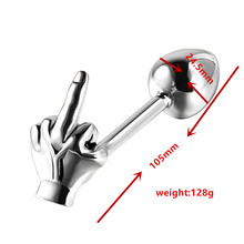 New small size 24.5*105mm stainless steel anal butt plug with one finger metal insert beads sex toys for men and women