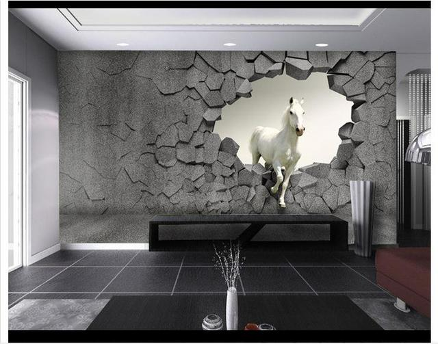 3d Photo Wallpaper Custom 3d Wall Murals Wallpaper 3 D Horse Wall Tv