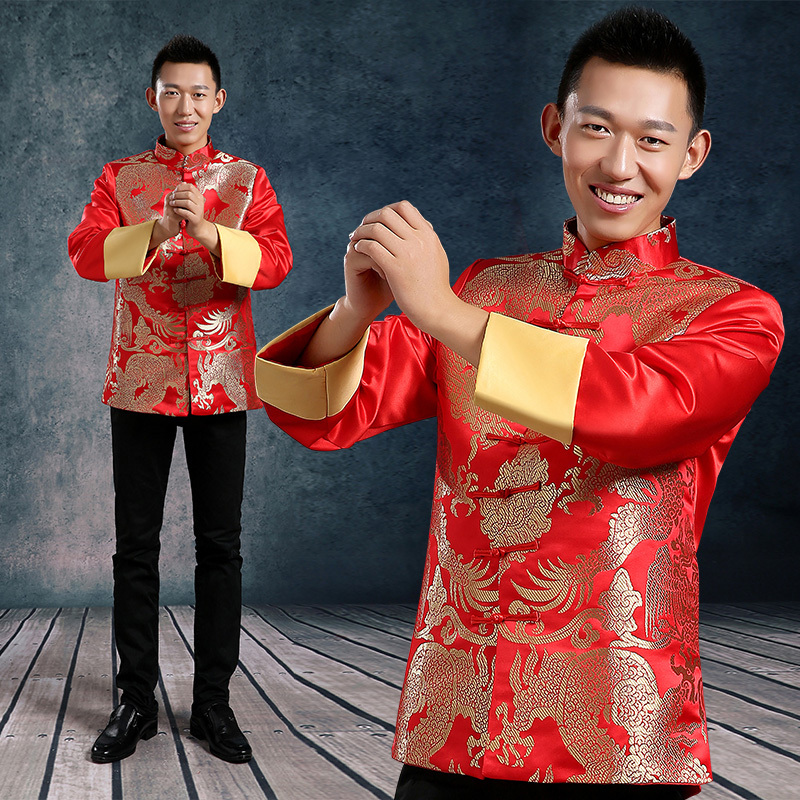 Dragon Pattern Chinese Traditional Men Clothing Male Costume Red Wedding Dresses Vintage Plate Ons 2017 Autumn In Tops From Novelty Special