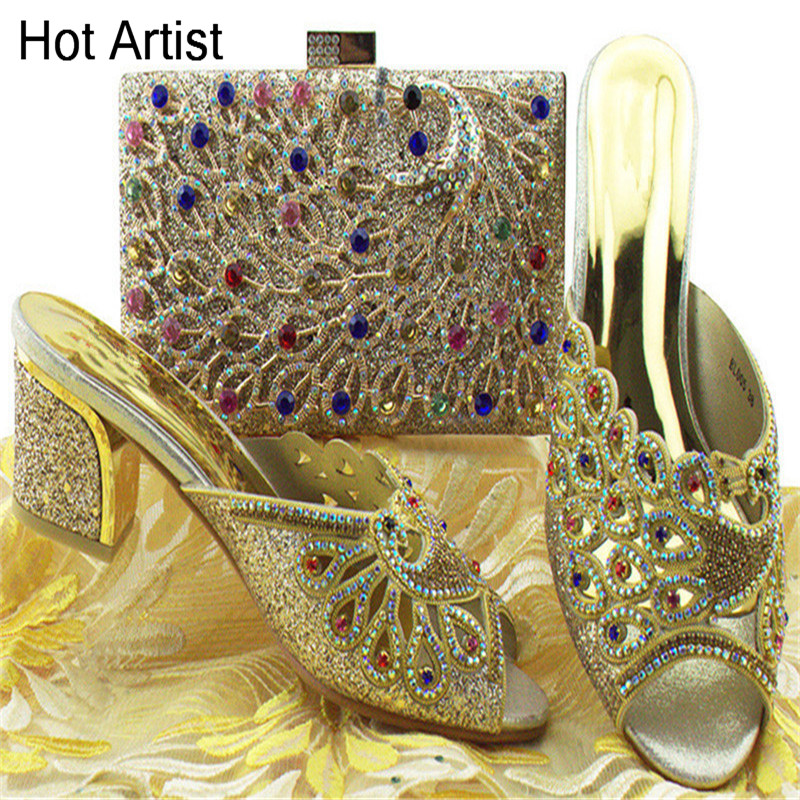 Hot Artist Gold Color Nigeria Rhinestone High Heels Shoes And Bag Set Latest Design Italian Shoes And Bags Set For Party BL005 цена