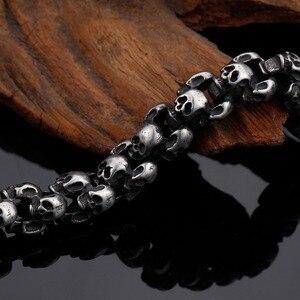 Image 5 - Kalen novo punk escovado crânio charme pulseiras para homens de aço inoxidável gótico fosco preto esqueleto pulseira masculino pub jóias 2017