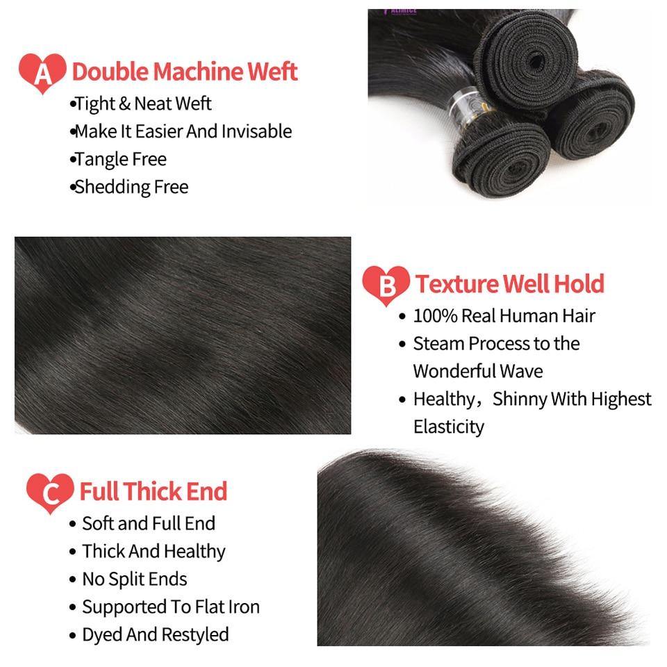 Alimice Hair Brazīlijas taisnas Remy matu aušanas komplekti 100% - Cilvēka mati (melnā krāsā) - Foto 2