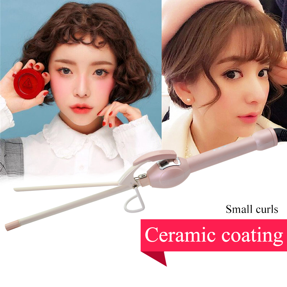 Купить с кэшбэком Small Hair Curler 9mm Curling Irons Ceramic Coating Hair Iron LCD Wand curler Styling Tools