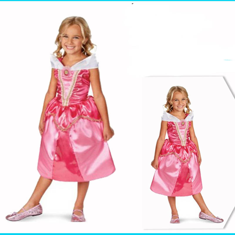 Free Shipping, High Quality Girl Hot Pink Sleeping Beauty Dress Costume,Party Fairy -1991